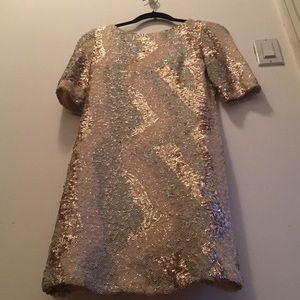 70s glam river island sequin gold dress